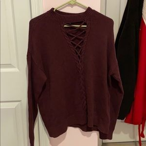 Maroon Lace up sweater